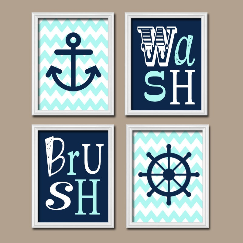 Nautical Bathroom Wall Decor : Nautical child bathroom wall art canvas or prints by trmdesign