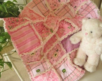 SALE Baby Rag Quilt - Quilted Baby Blanket, Nursery Bedding, Crib Size - John Deere, Sassy Pink Tractors, Paisley, Bandana, Stripes, Checks