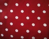 Vintage Cherry Red & White Polka Dot Cotton Fabric Yardage 5 yards