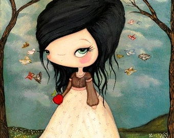 Snow White Print Bird Art Girl Fairy Tale Wall Art 11 x 14