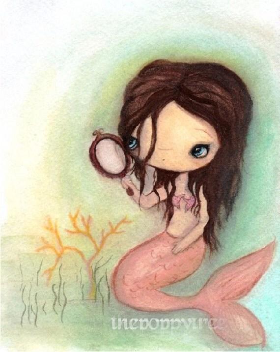 Mermaid Print Pretty Girl Cute Nautical Wall Art--- Mermaid In The Mirror