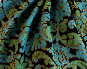 2+ Yards Vintage Vat Dyed 100% Linen Stunning Green And Turquoise On Black Drapery Fabric
