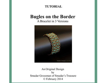 Beading Tutorial, Bugles on the Border Bracelet. Beading Pattern with SuperDuo and Bugle Beads. Instant Download Beadweaving Instructions