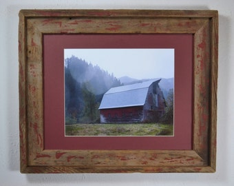 Old barn print in recycled 11x14 wood frame great rustic wall accent