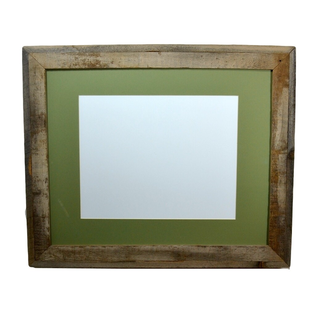 Gallery style natural wood 16x20 frame with green 11x14 mat for 16x20 frame