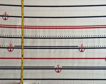 Anchors red and blue on cream 100% cotton jersey knit fabric 1 yard