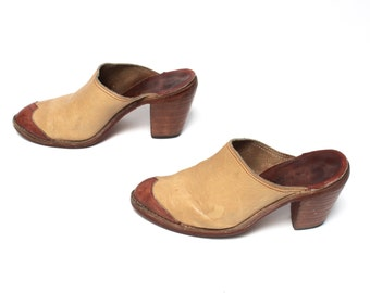 size 7 CLOGS tan leather 70s 80s WESTERN slip on high heel MULES