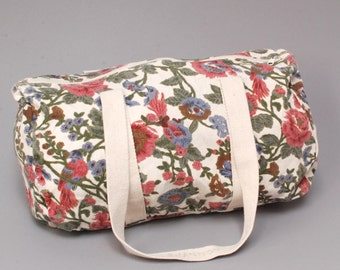 GRUNGE floral canvas fabric 80s 90s OVERNIGHT WEEKEND tote duffel bag