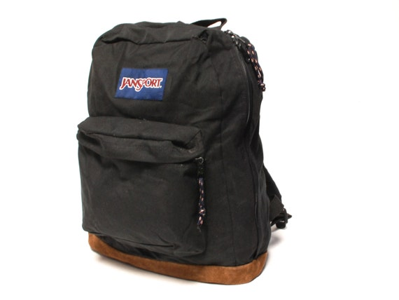 JANSPORT black canvas 80s 90s BACKPACK grunge unisex knapsack
