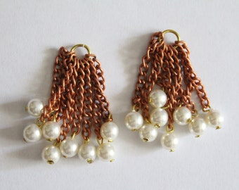 Vintage pearl copper chain tassels 39mm (2)