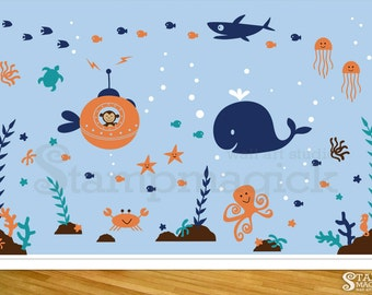 Under the Sea Wall Decal Fish Vinyl Wall Decor Under Water