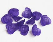 30 pcs de givré acrylique Rose fleur 15X7mm perles de couleur violet