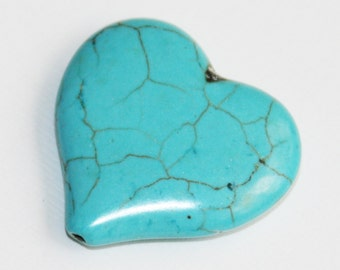 1 pc of Manmade Turquoise heart beads 34mm, Turquoise heart pendant, turquoise heart beads, loose beads