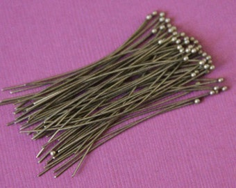 WholeSale ----- 500 pcs of Antiqued Brass Ball end headpin - 22G - 1.75 inch