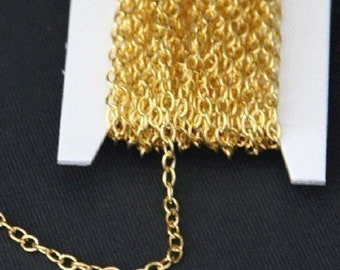 45 ft of Gold Plated round cable chain 2.6X3.9mm - unsoldered, gold chain