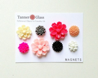 Resin Flower Magnets - Pink Party - Rare Earth Magnets- Set of 8