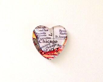 NEW Vintage Map Magnet - Heart Shape - Chicago