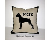 BOXER Personalized Pillow - Uncropped Boxer Pillow - Natural Ears Boxer Pillow - One of a Kind, Handmade - 4 Designs Available