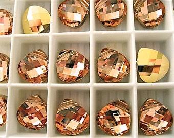 4 Crystal Rosaline Gold Swarovski Pendants Briolette 6012 11mm