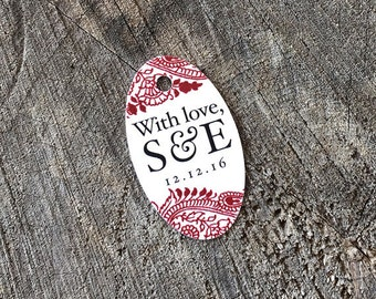Paisley Wedding Favor Tags - Oval Mini Thank you tags - Indian Bridal Shower Gift Tags - Mini Hindu Style Tags - Set of 50