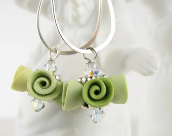 Earrings - Lime Green Roses - Polymer Clay & Sterling Silver
