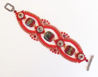 Bead Weaving Bracelet - Rich Reds and Metallic Silver Wearable Art Bracelet