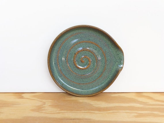 Spoon Rest Stoneware Ceramic in Sea Mist Glaze