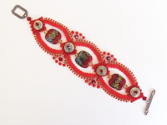 Bead Weaving Bracelet - Rich Reds and Metallic Silver Wearable Art Bracelet