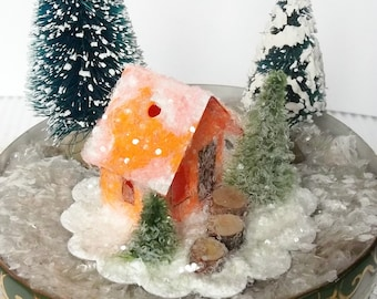 Vintage Putz Style Tiny Miniature Orange Sherbet Glitter Sugar House with Pine Trees for your Christmas Village Ornament