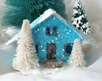 Vintage Putz Style Miniature Blue Glitter House with Beige Pine Trees for Christmas Village or Tree Ornament can be Lighted