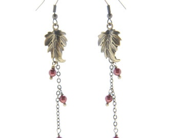 Antique Brass Leaf and Chain Long Drop Earrings with Wine Colored Swarovski Crsytal Pearls (E63)