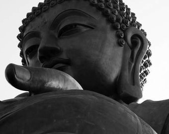 Zen Thoughts - Watchful Eyes (buddha statue photo print, closeup face black and white photography, Asian buddhism Hong Kong travel photo)