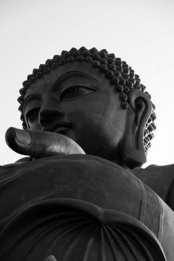 Zen Thoughts - Watchful Eyes (buddha statue photo print, closeup face black and white photography, Asian buddhism Hong Kong travel photo)