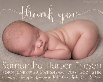 Thank you Birth Announcement Photo Card - Baby Girl Birth Announcement -  Baby - Digital - Printable - newborn - boy - girl - SIMPLE DESIGN