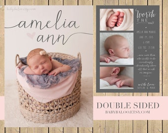 Baby Girl BIRTH ANNOUNCEMENT - Double sided - worth the wait - collage - scripture quote - two sides - pink - grey - love - modern nickname