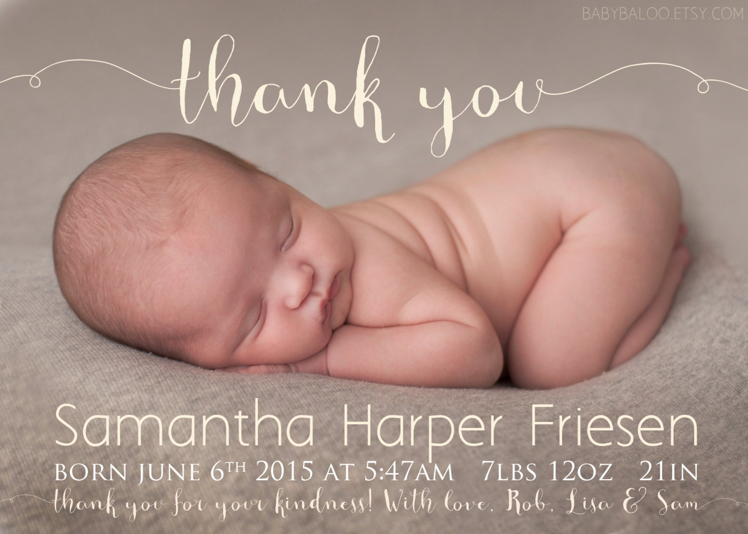 Thank you Birth Announcement Photo Card Baby Girl Birth – Birth Announcements and Thank You Cards