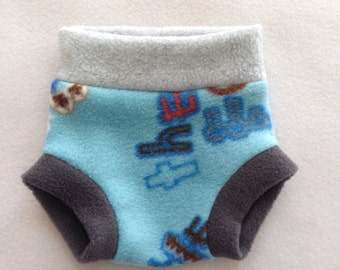 Size Small --- Blue Anti Pill Fleece Diaper Cover (((ready to ship)))