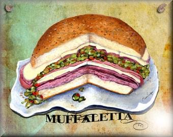 8x10 Ceramic Art Tile New Orleans Muffaletta Sandwich