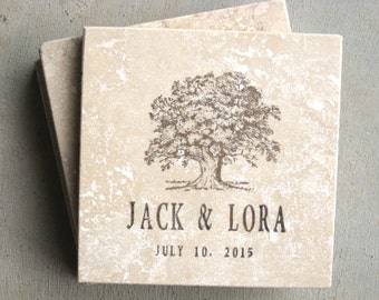 Wedding  Coasters - Oak Tree Coasters - Set of 4 Travertine Tiles - Just Married