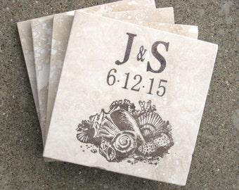 Personalized Seashell Coasters  - Beach Wedding - Set of 4
