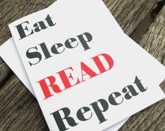 Book Lover Note Cards - Eat Sleep Read Repeat - Book Lover Stationery Set