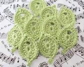 Crochet Leaves Leaf Appliques Wasabi Leaves Leaf Embellishments