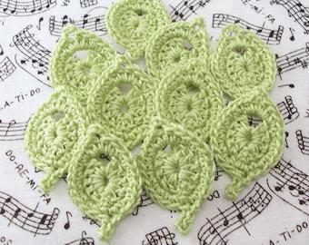Crochet Leaves|Leaf Appliques|Wasabi Leaves|Leaf Embellishments