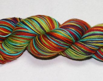 Rainbow Self Striping Hand Dyed Sock Yarn