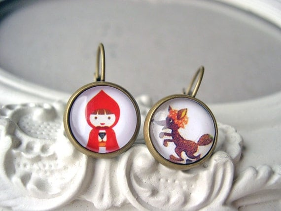 Little red Riding Hood and Big Bad Wolf  leverback earrings sweet lolita feminine