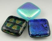 Dichroic Fused Glass Cabochons in black blue turquoise