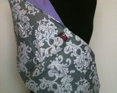 Baby Sling  Baby Carrier - Gray and White Damask Lavender  Lining   Second Item Ships Free