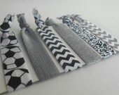 Silver glitter gray and black soccer girly fold over elastic hair ties set of 6