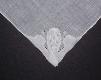 Vintage White Handkerchief with a White Initial W - Handkerchief Hankie