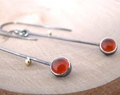 RESERVED - Twig Carnelian Dangle Earrings Sterling Silver 18 Karat Gold Earrings Two Tone Drop Earrings Artisan Made Handmade Metalsmith